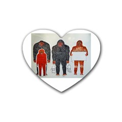 1 Neanderthal & 3 Big Foot,on White, Drink Coasters 4 Pack (Heart)