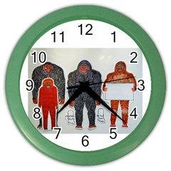 1 Neanderthal & 3 Big Foot,on White, Wall Clock (Color)