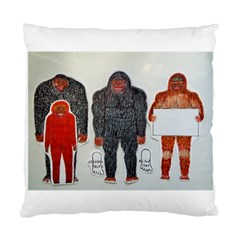 1 Neanderthal & 3 Big Foot,on White, Cushion Case (single Sided)
