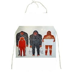 1 Neanderthal & 3 Big Foot,on White, Apron