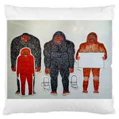 1 Neanderthal & 3 Big Foot,on White, Large Cushion Case (single Sided)