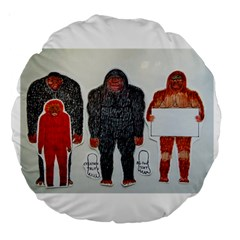 1 Neanderthal & 3 Big Foot,on White, 18  Premium Round Cushion