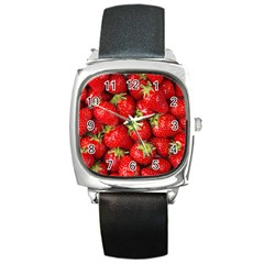 Strawberries Square Leather Watch