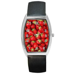 Strawberries Tonneau Leather Watch