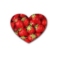 Strawberries Drink Coasters 4 Pack (Heart)