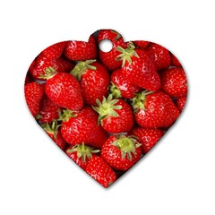 Strawberries Dog Tag Heart (one Sided)