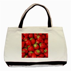 Strawberries Twin-sided Black Tote Bag