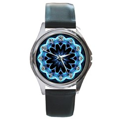 Crystal Star, Abstract Glowing Blue Mandala Round Leather Watch (silver Rim)