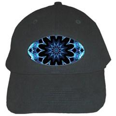 Crystal Star, Abstract Glowing Blue Mandala Black Baseball Cap