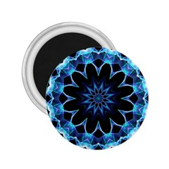 Crystal Star, Abstract Glowing Blue Mandala 2 25  Button Magnet