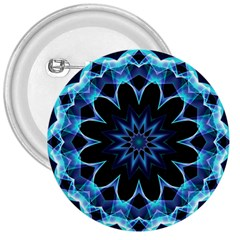 Crystal Star, Abstract Glowing Blue Mandala 3  Button