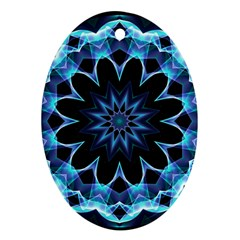 Crystal Star, Abstract Glowing Blue Mandala Oval Ornament