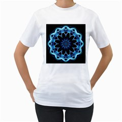 Crystal Star, Abstract Glowing Blue Mandala Women s Two-sided T-shirt (White)