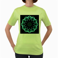 Crystal Star, Abstract Glowing Blue Mandala Women s T-shirt (Green)