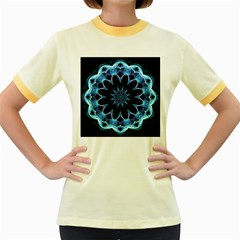 Crystal Star, Abstract Glowing Blue Mandala Women s Ringer T-shirt (Colored)