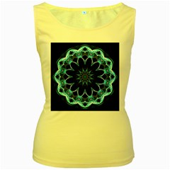 Crystal Star, Abstract Glowing Blue Mandala Women s Tank Top (Yellow)