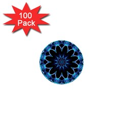 Crystal Star, Abstract Glowing Blue Mandala 1  Mini Button (100 pack)