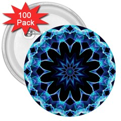 Crystal Star, Abstract Glowing Blue Mandala 3  Button (100 Pack)