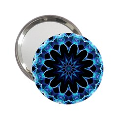 Crystal Star, Abstract Glowing Blue Mandala Handbag Mirror (2.25 )