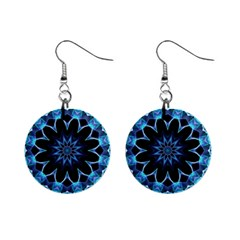 Crystal Star, Abstract Glowing Blue Mandala Mini Button Earrings