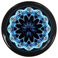Crystal Star, Abstract Glowing Blue Mandala Wall Clock (Black)