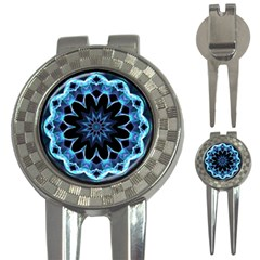 Crystal Star, Abstract Glowing Blue Mandala Golf Pitchfork & Ball Marker
