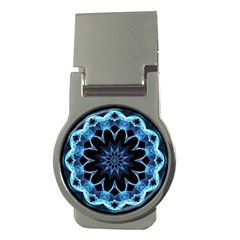 Crystal Star, Abstract Glowing Blue Mandala Money Clip (round)