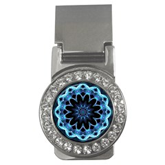 Crystal Star, Abstract Glowing Blue Mandala Money Clip (CZ)