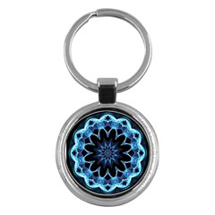 Crystal Star, Abstract Glowing Blue Mandala Key Chain (Round)