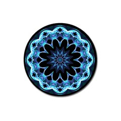 Crystal Star, Abstract Glowing Blue Mandala Magnet 3  (round)