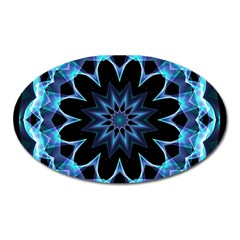 Crystal Star, Abstract Glowing Blue Mandala Magnet (Oval)