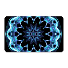 Crystal Star, Abstract Glowing Blue Mandala Magnet (Rectangular)