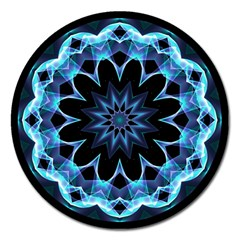 Crystal Star, Abstract Glowing Blue Mandala Magnet 5  (round)