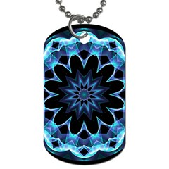 Crystal Star, Abstract Glowing Blue Mandala Dog Tag (Two-sided)