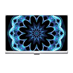 Crystal Star, Abstract Glowing Blue Mandala Business Card Holder