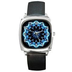 Crystal Star, Abstract Glowing Blue Mandala Square Leather Watch