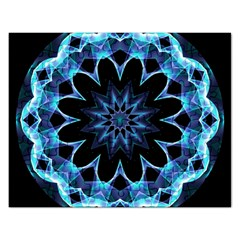 Crystal Star, Abstract Glowing Blue Mandala Jigsaw Puzzle (Rectangle)