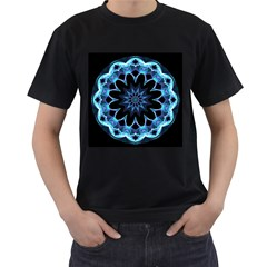 Crystal Star, Abstract Glowing Blue Mandala Men s Two Sided T-shirt (Black)