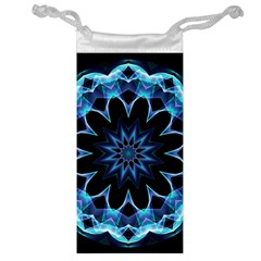 Crystal Star, Abstract Glowing Blue Mandala Jewelry Bag