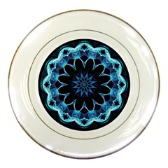 Crystal Star, Abstract Glowing Blue Mandala Porcelain Display Plate
