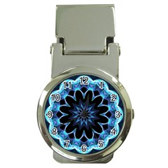 Crystal Star, Abstract Glowing Blue Mandala Money Clip With Watch