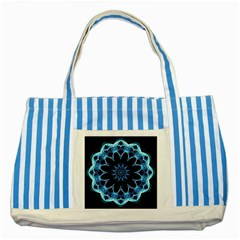 Crystal Star, Abstract Glowing Blue Mandala Blue Striped Tote Bag