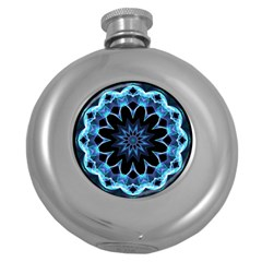 Crystal Star, Abstract Glowing Blue Mandala Hip Flask (round)