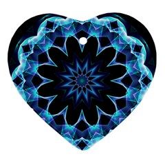 Crystal Star, Abstract Glowing Blue Mandala Heart Ornament (Two Sides)