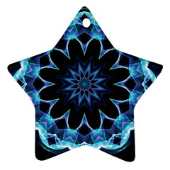 Crystal Star, Abstract Glowing Blue Mandala Star Ornament (Two Sides)