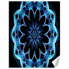 Crystal Star, Abstract Glowing Blue Mandala Canvas 12  X 16  (unframed)