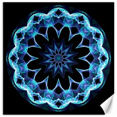Crystal Star, Abstract Glowing Blue Mandala Canvas 16  x 16  (Unframed)