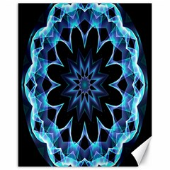 Crystal Star, Abstract Glowing Blue Mandala Canvas 16  x 20  (Unframed)
