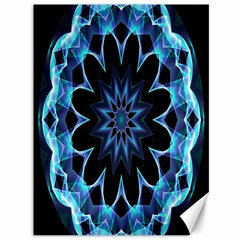 Crystal Star, Abstract Glowing Blue Mandala Canvas 36  x 48  (Unframed)