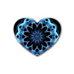 Crystal Star, Abstract Glowing Blue Mandala Drink Coasters 4 Pack (heart)